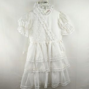 Vtg Merry Girl Fancy Sheer White Lace Party Dress